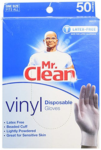 MR. CLEAN Latex Free VINYL Disposable Cleaning Gloves with BEADED CUFF (50 Co...