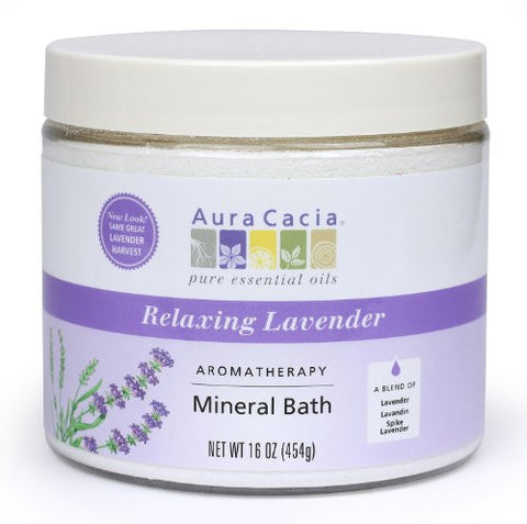 Aura Cacia Aromatherapy Mineral Bath, Relaxing Lavender, 16 ounce jar