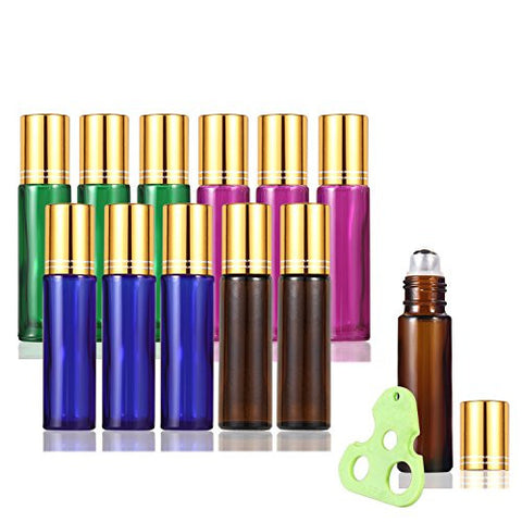 Olilia Glass Roll on Bottles with Metal Roller Balls - Essential Oils Key included  10ml(1/3oz) (Mixed Color - Gold Lids)