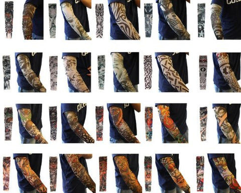 Efivs Arts 20pc Fake Temporary Tattoo Sleeves Body Art Arm Stockings Accessories - Designs Tribal, Dragon, Skull, and Etc.