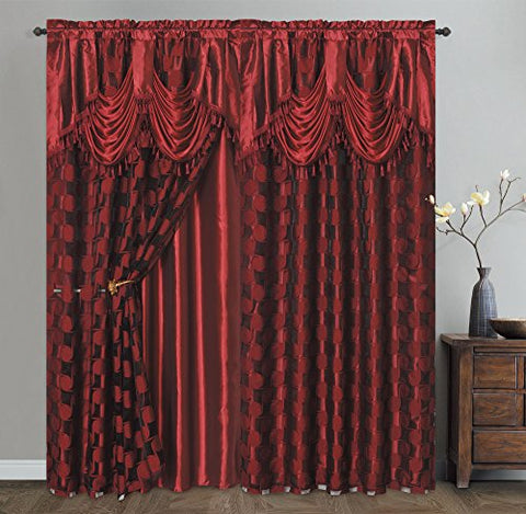 CIRCLE CYCLE. Clipped voile/ voile jacquard window curtain panel drape with attached fancy valance & taffeta backing. 2pcs set. Each pc 54  wide x 84  drop + 18  valance. (WINE)