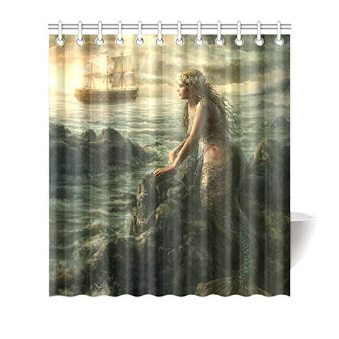 CTIGERS Beautiful Mermaid Art Shower Curtain Abstract Sea and Boat Polyester Fabric Bathroom Decor 66 x 72 Inch