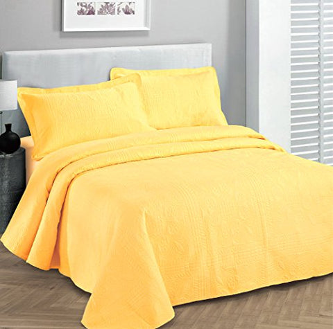 Fancy Collection 3pc Luxury Bedspread Coverlet Embossed Bed Cover Solid Yellow New Over Size 118 x106  King/california King