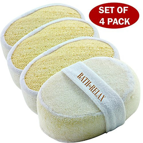 Exfoliating Loofah Bath Sponge Pads - Ultra Thick, Great For Exfoliating Shower - 100% Natural - Best Luffa Sponge And Spa Scrubber For Men And Women - Body wash sponge