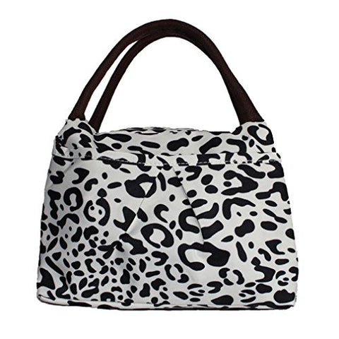 ZXKE Dots Print Design Women Bag Lunch Bag Tote (Leopard black white)