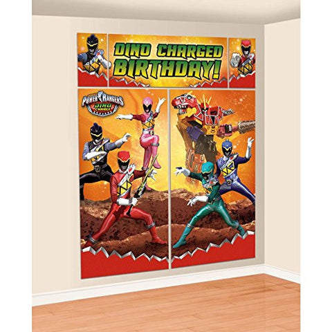Amscan Power Rangers Dino Charge Birthday Party Scene Setters Wall Decorating Kit, Multi