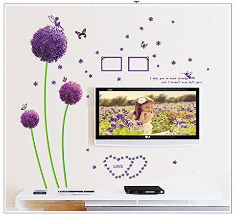 Amaonm® Removable Purple Dandelions Home Art Decor Wall Decals Photo Frame Butterfly Wall Stickers Love Heart Shape Murals for Kids Girls Room Bedroom Living Room Tv Background Decorations