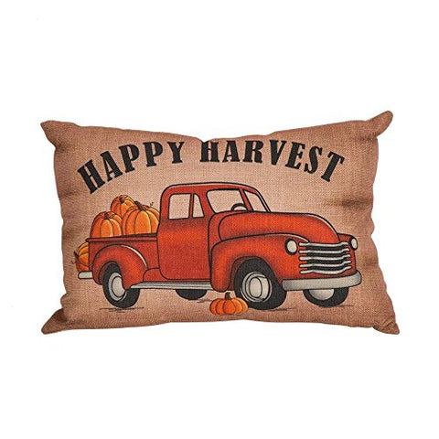 Glitzhome Happy Harvest Truck Pillow