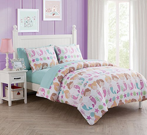 5 Pc, Girls, Lil Mermaid, Twin Size Bedding, By Karalai Bedding Collection