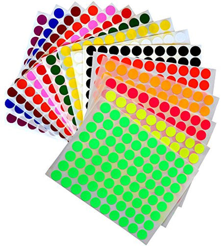 "KIDS colored round dots ½ "" inch (0.5 ) art crafts and games Stickers 15 colors 16 Sheets"
