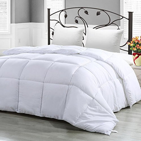 Mezzati Comforter Duvet Insert King-CalKing-White - Hypoallergenic, Siliconized Fiberfill, Box Stitched, Down Alternative Comforter, Protects Against Dust Mites and Allergens (King / Cal King, White)