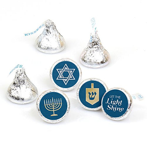 Happy Hanukkah - Chanukah Party Round Candy Sticker Favors - Labels Fit Hersheys Kisses (1 sheet of 108)