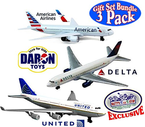 Daron American Airlines, Delta & United Airlines B747 Die-cast Planes Matty's Toy Stop Exclusive Gift Set Bundle -