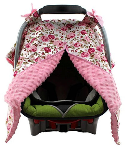 Dear Baby Gear Carseat Canopy, Vintage Floral Pink on White, Pink Minky