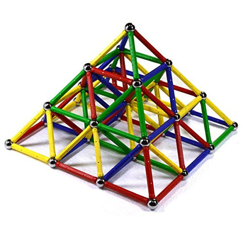 CMS Magnetics 126 PC Magnetic Building Set - Magnetic Brain Training Set for Kids and Adults