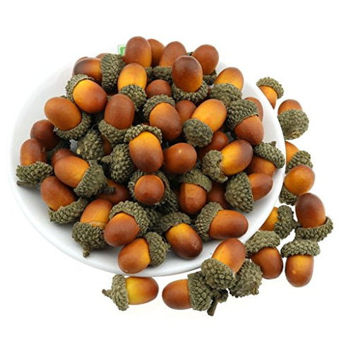 Gresorth 50 PCS Artificial Acorn Brown Color Fake Acorns DIY Craft Home Party Festival Christmas Decoration