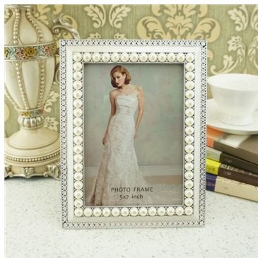 Graces Dawn 5x7 Inch Photo Opening White Pearls with Crystals Picture Frame
