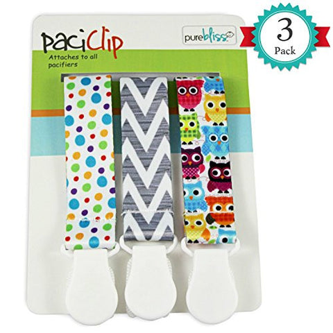 Pacifier Clips for Baby | Set of 3 | Universal Design Fits All Pacifier Styles for girls and boys