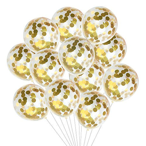 Kuuqa 15 Pieces Gold Confetti Balloons 12 Inches for Wedding Birthday Party Decorations