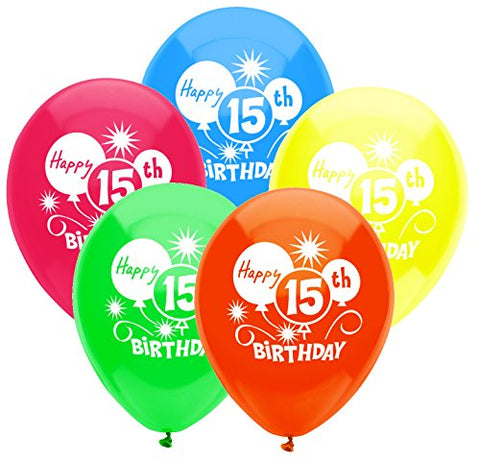 PartyMate 24632 Printed Latex Balloons, 8 CT, 15TH BIRTHDAY BALLOONS