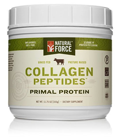 Natural Force® Collagen Protein *RANKED #1 BEST COLLAGEN SUPPLEMENTS* Grass Fed Collagen Hydrolysate – Natural Collagen Peptides Paleo Protein Powder, Type I, Non-GMO, Gluten Free, 11.75 oz.