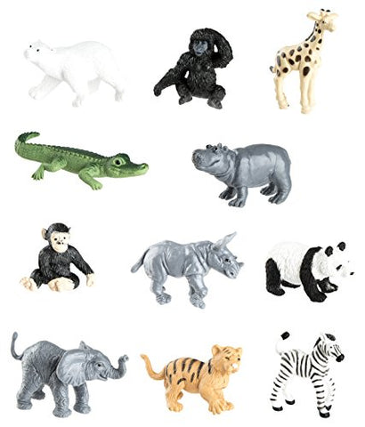 Safari Ltd Zoo Babies Toy Figurine TOOB With 11 Adorable Baby Animals Including Baby Zebra, Panda, Hippo, Chimpanzee, Rhino, Alligator, Gorilla, Elephant, Tiger, Polar Bear, And Giraffe – Ages 3 And Up