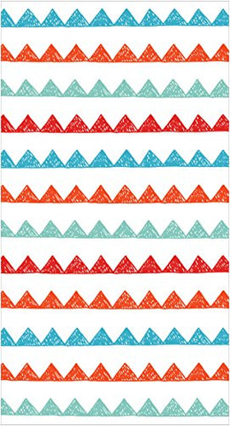 Creative Converting Elise 16 Count 3 Ply Modern Tribal Zig Guest Towel, Red/White/Blue