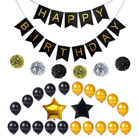 Monopril Birthday Party Black and Gold Decorations, Include Banner Balloons and Pom Poms Flowers, Perfect for Adult