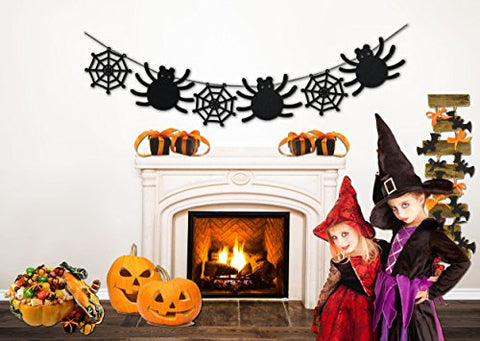 Halloween Decorations - Spider Web Banner - 8 Ft Long Halloween Party Banner
