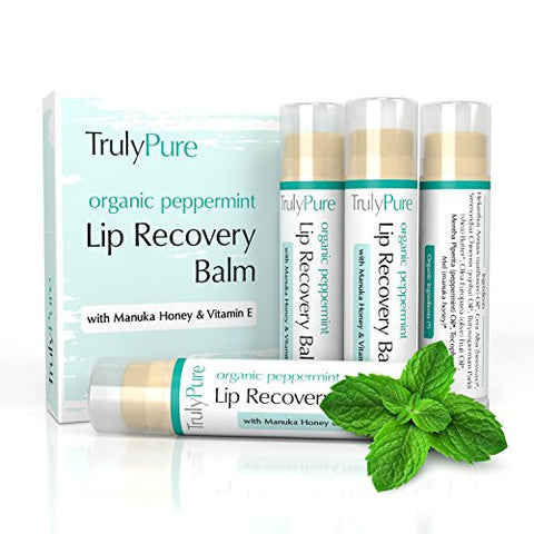 100% ORGANIC Peppermint Lip Balm - - Moisturizing Lip Care with Manuka Honey, Shea Butter, Vitamin E, Beeswax - To Repair & Protect Chapped & Cracked Lips - No GMOs - Truly Pure