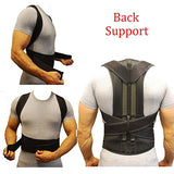 Adjustable Posture Corrector Brace Back Support Belt - Cotton Inner Layer, waist length fits 27.5-33.4, Black, L