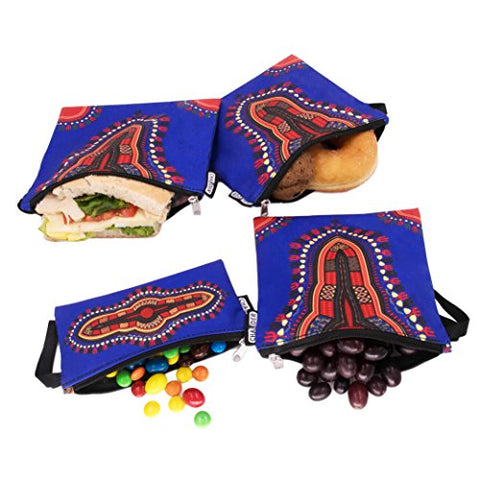 Reusable Snack & Sandwich Bags by CHAUDER - Set of 4 Meal Prep Sandwich Baggies  Eco Friendly, Dishwasher Safe & Easy to Hand Clean  Smooth Open Zipper - For Office, School & Picnic (Dashiki Blue)