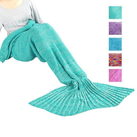 Mermaid Tail Blanket, MAXCHANGE Handmade High Density Thick Mermaid Blanket, Soft and Warm for All Seasons, A Sweet Gift for Girlfriends - Mint Green