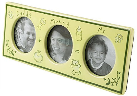 Daddy + Mommy = Me Family Picture Frame. Glazed Ceramic Triple Photo Frame. Great Baby Shower Gift for New Parents. Easel-Back Table Mount With Built-In Support. 9.5 x 4.