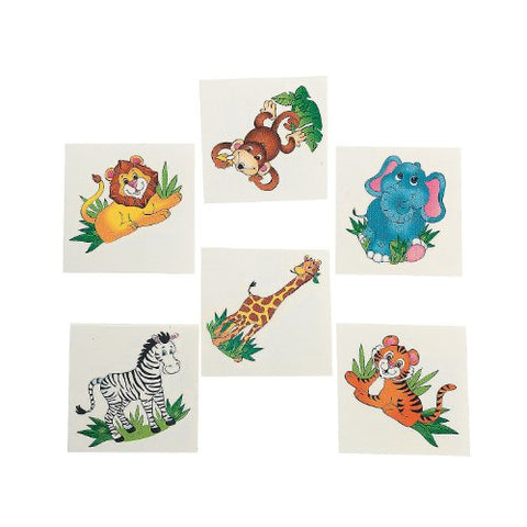 36 Zoo Animal Temporary Tattoos