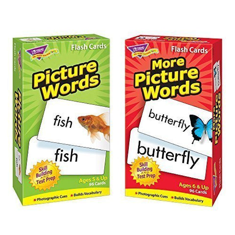 Picture Words & More Picture Words Skill Drill Flash Cards -- Bundle of 2 Items by Trend Enterprises