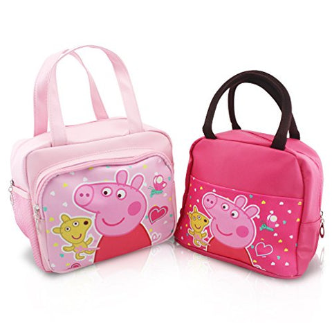 Finex - Set of 2 - Pink Peppa Pig Premium PU Leather Zippered Lunch Tote Bag with Carry Handles - Large and Slim totes