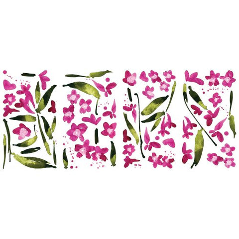 RoomMates RMK2495SCS Fuchsia Flower Arrangement Peel and Stick Wall Decals,