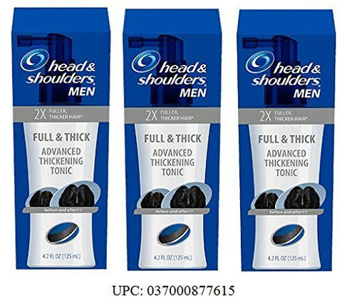 Mens Head & Shoulders Full & Thick Advanced Thickening Tonic, 2X Fuller, Thicker Hair, 4.2 ounce each