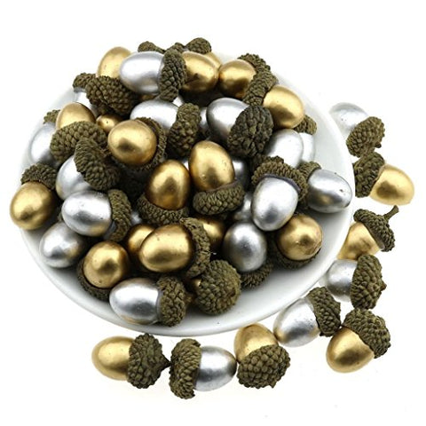 Gresorth 50 PCS Gold + Silver Artificial Acorn Fake Acorns DIY Craft Material Home Party Christmas Decoration