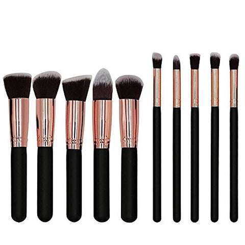 Beauty Kate Professional 10pcs Premium Synthetic Kabuki Makeup Brush Set Foundation Blending Cosmetic Brushes Essential Kit (Black + RoseGolden)