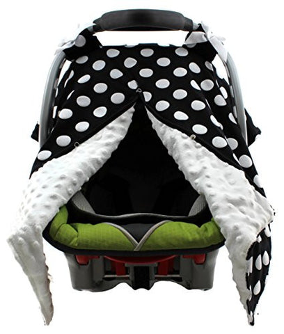 Dear Baby Gear Carseat Canopy, Polka Dots White on Black, White Minky