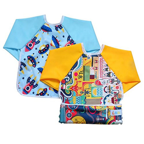 LBB Cute Waterproof Roll up Pocket Baby Bibs Smock with Long Sleeves(2pcs Pack)Fit babies 6-36 Months, Cityscape and Spacecraft