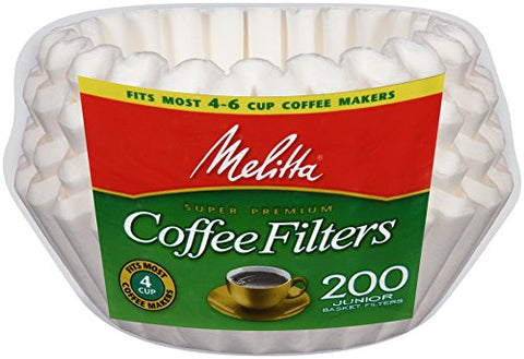 Melitta Basket Coffee Filters, Jr. White,, 200 Count