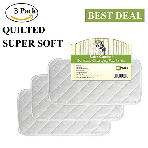 "Quality Bamboo Changing Pad Liners, Large 26"" x 12.5"", Waterproof, Hypoallergenic, Antibacterial, Reusable, Quilted, Machine Washable & Dryer Friendly,"