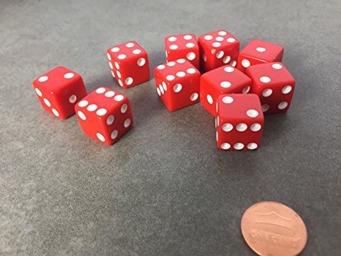 Set of 10 Six Sided D6 16mm Standard Dice Die - Red with White Pips by JUSTMIKE'S?