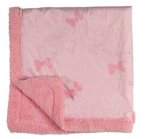 Disney Minnie Mouse Double Sided Infant Blanket, Printed Mink and Sherpa Backing