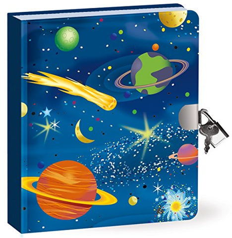 Peaceable Kingdom Deep Space Glow in the Dark 6.25 Lock and Key, Lined Page Diary for Kids