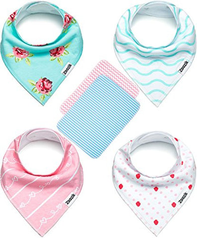 Baby Bandana Drool Bibs for Girls with 2 Burp Cloths, Gift Set for Drooling and Teething, 100% Organic Cotton, Soft, Absorbent, Hypoallergenic - Darling Set By Zoozik