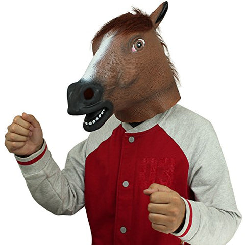 BengPro Novelty Latex Rubber Creepy Horse Head Mask Halloween Party Costume Decorations